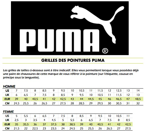 comment taille chaussure puma